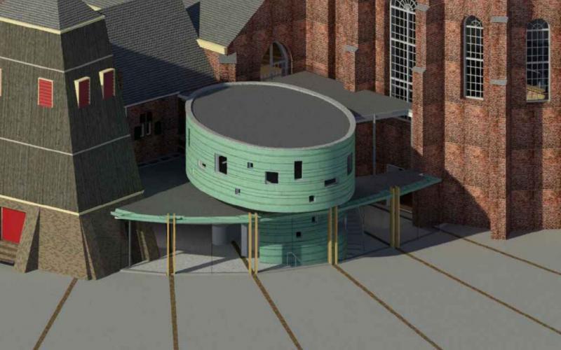 Ontwerp van de aanbouw aan de Martinikerk Sneek.