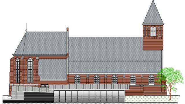 Artist's impression van het gemeenschapshuis bij de Centrumkerk Geldermalsen.