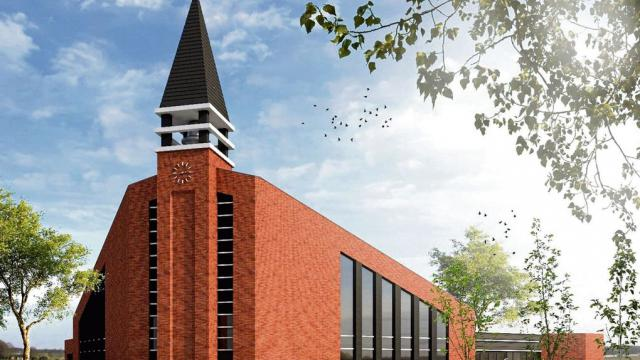 Ontwerp van het nieuwe kerkgebouw van de Hersteld Hervormde Gemeente in IJsselmuiden | Beeld: Born Architecten