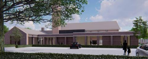 Tekening van de nieuwbouw van de Emmauskerk in Barneveld.