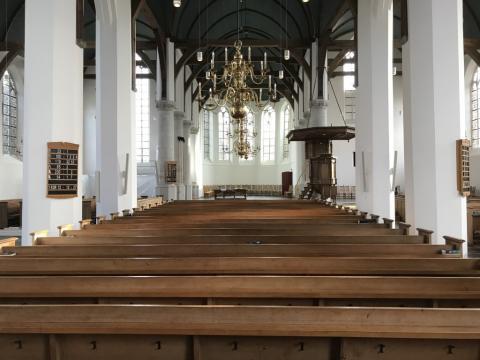 Interieur van de Grote of Sint Michaelskerk in Oudewater.