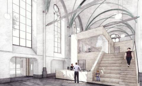 Artist impression van het nieuwe interieur van de Grote Kerk in Steenwijk. Ontwerp Adema Architecten.