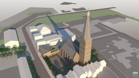 Een impressie van de Sint Janskerk in Zutphen en het nieuwe parochiecentrum   Beeld: MAS Architecten