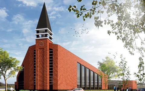 Ontwerp van het nieuwe kerkgebouw van de Hersteld Hervormde Gemeente in IJsselmuiden   Beeld: Born Architecten